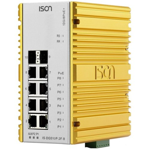 Industrial PoE Ethernet Switch IS-DG510P-2F-8